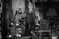 John Austin Ellsworth demonstrates his blacksmith skills at Preservation Forge in Lewes Delaware