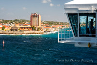 Carnival Breeze's Bridge towers over Curacao's Plaza Hotel and historic Waterford Forte!