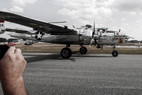 Spectators photograph Larry Kelley's B-25 Panchito on take off