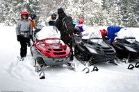Loading up to go snowmobiling in Routt National Forest - Rabbit Ears Pass