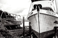 These two old fishiing boats, the Interim and the Ilse, have seen better days